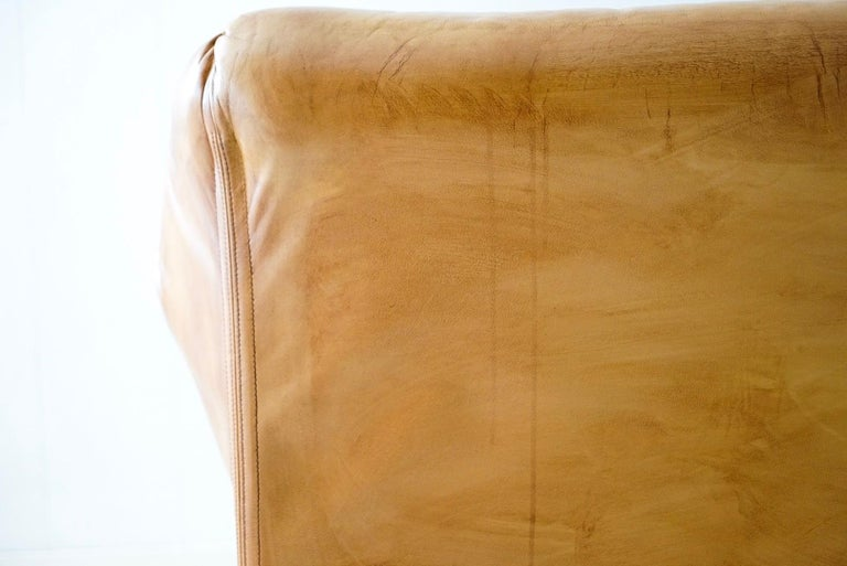 Aged Cognac Leather Tentazione Three-Seat Sofa by Mario Bellini for Cassina For Sale 7