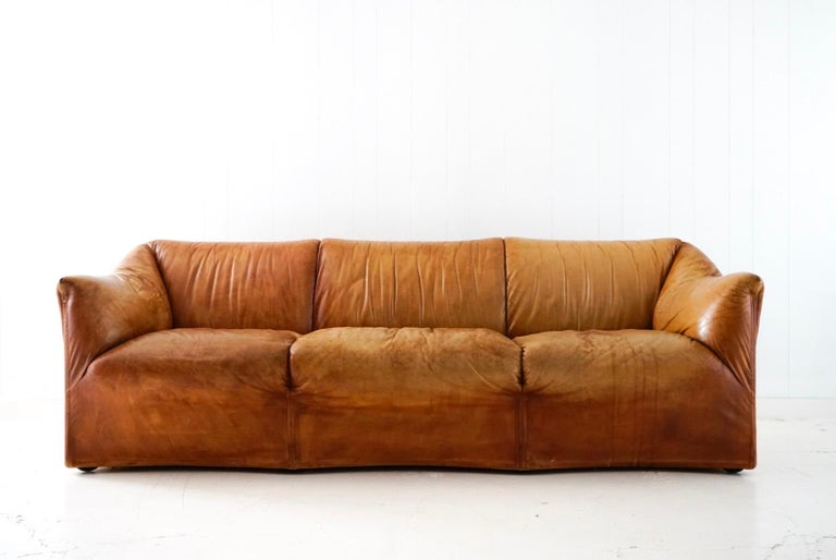 Aged Cognac Leather Tentazione Three-Seat Sofa by Mario Bellini for Cassina For Sale 8