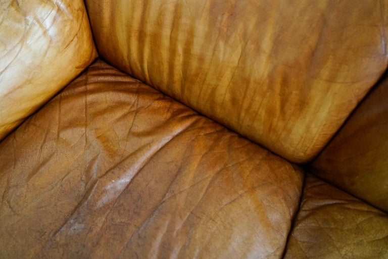 Aged Cognac Leather Tentazione Three-Seat Sofa by Mario Bellini for Cassina For Sale 11