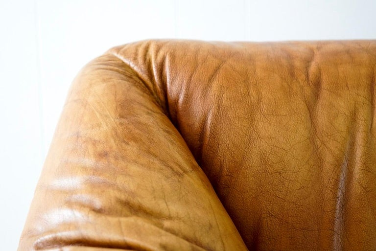Mid-Century Modern Aged Cognac Leather Tentazione Three-Seat Sofa by Mario Bellini for Cassina For Sale