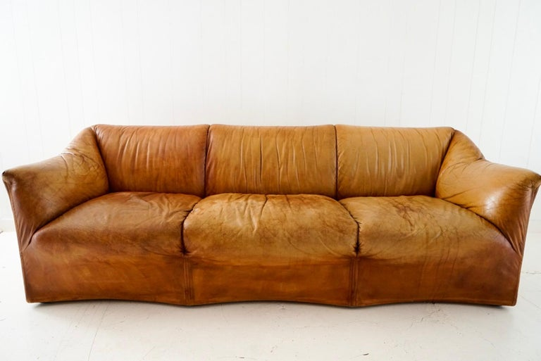 Aged Cognac Leather Tentazione Three-Seat Sofa by Mario Bellini for Cassina In Good Condition For Sale In Los Angeles, CA
