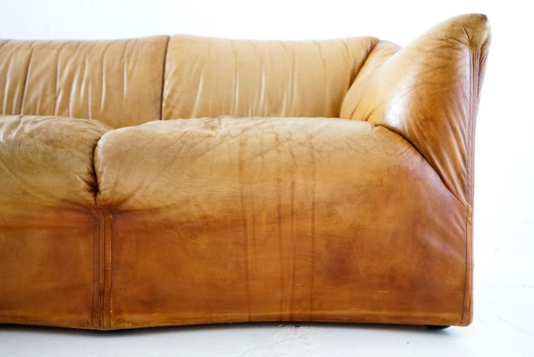Aged Cognac Leather Tentazione Three-Seat Sofa by Mario Bellini for Cassina For Sale 1