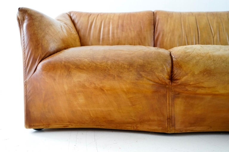 Aged Cognac Leather Tentazione Three-Seat Sofa by Mario Bellini for Cassina For Sale 2