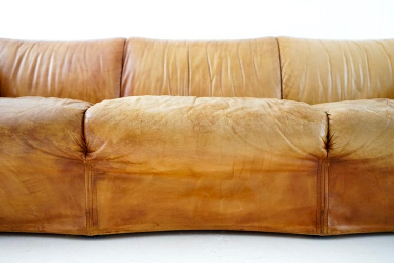 Aged Cognac Leather Tentazione Three-Seat Sofa by Mario Bellini for Cassina For Sale 3