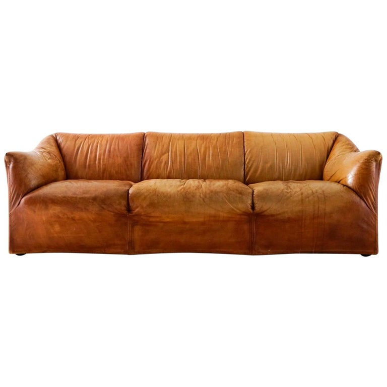 Aged Cognac Leather Tentazione Three-Seat Sofa by Mario Bellini for Cassina For Sale