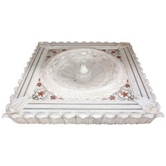 Aged Marble Floor Fountain with Inlay Mosaic