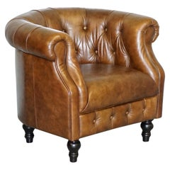 Aged Tan Brown Heritage Leather Chesterfield Tub Armchair Lovely Comfortable