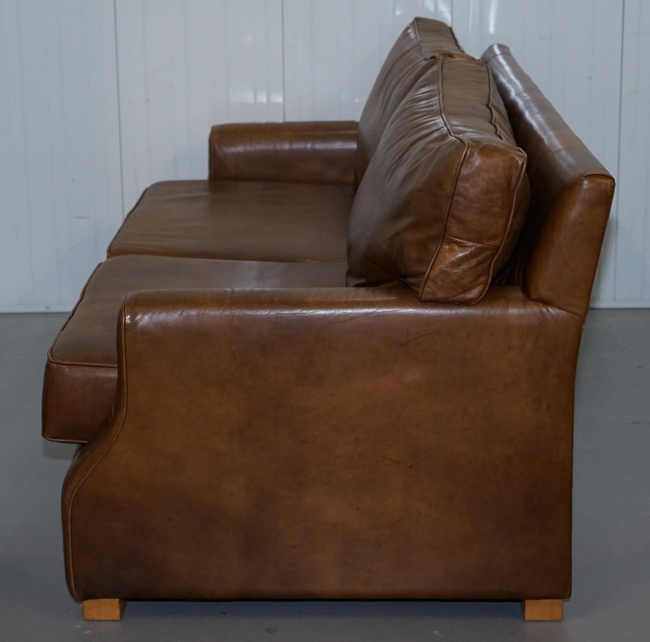 Antiques Aged Vintage Heritage Brown Leather Three Seater Sofa Duck Feather Cushions 1900-1950
