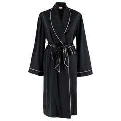 Agent Provocateur Black Contrast-piped silk robe S 8