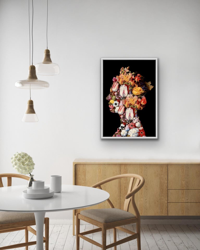 Agent X, One Queen (2) Black, Contemporary Art, Affordable Art, Floral Art For Sale 1