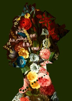 Agent X, One Queen (1) Green, Contemporary Art, Affordable Art, Floral Art
