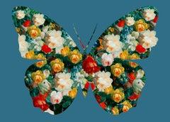 Butterfly Blue - Botanical Butterfly / Blue Silhouette / Digital Print