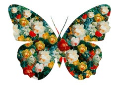 Butterfly White - Botanical Butterfly / White Silhouette / Digital Print