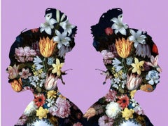 Elanna - Mirror image of a woman with bun with flowers and lavender by Agent X