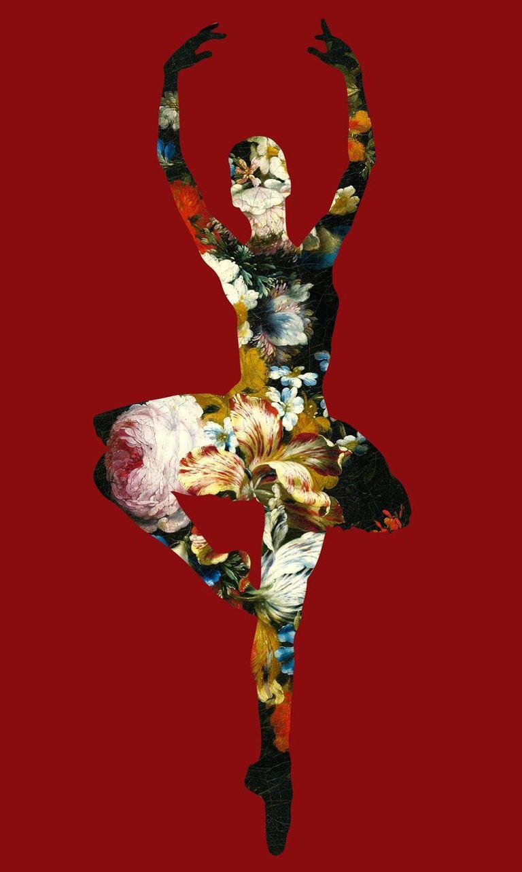 En Dedans pirouette avec des fleur, Ballerina in a red background, floral print