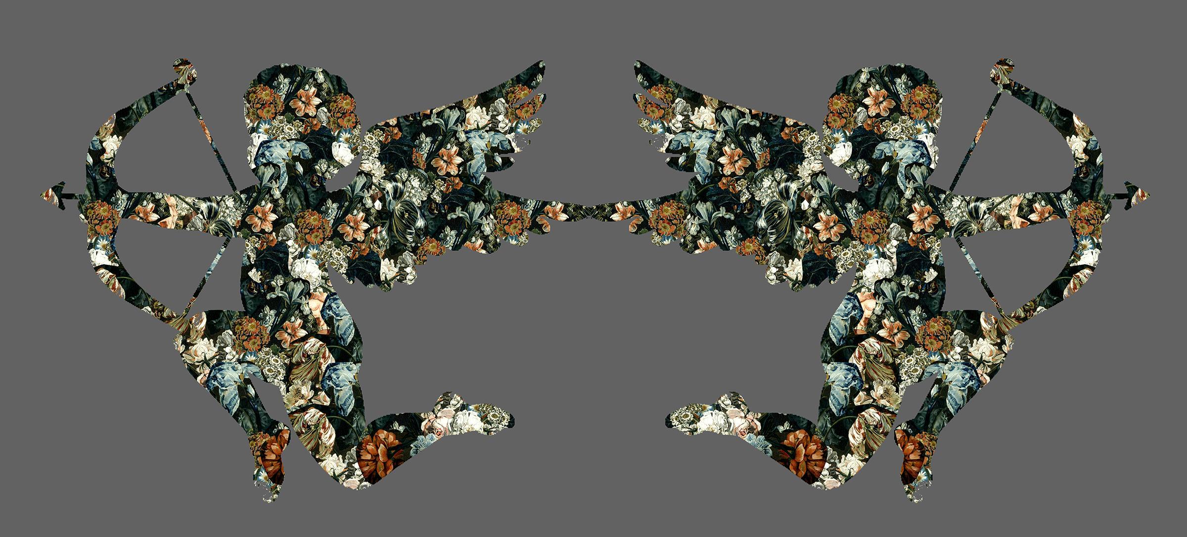 Valentine Love, Silver - Botanical Cupid / Floral Cherub: Digital Print