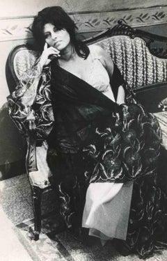 Portrait of Anna Magnani - Vintage b/w Photo by Agenzia ANSA - 1950s