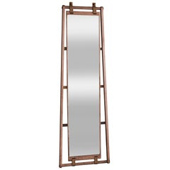 Agern Mirror in Limed Walnut with Tan Leather Straps