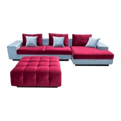 Aghi Red Ottoman and Aqua Right-Facing Sofa