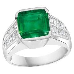 AGI Certified 5 Ct Emerald Cut Colombian Emerald Diamond Platinum Ring, Unisex