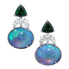 AGL 10.35 Cts Black Crystal Opal, 7.62 Cts Tsavorite & Diamond Platinum Earrings