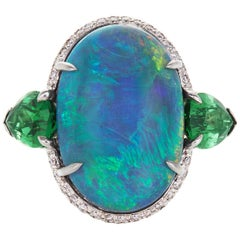 AGL 10.99 Carat Black Opal Ring with 4.36 Cts Tsavorite and Diamond in Platinum