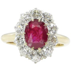 AGL 2.31 Carat Dark Red Burma Ruby Diamond Engagement Ring in Yellow Gold