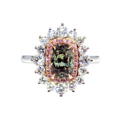 AGL 3.01 Carat Natural Alexandrite Fancy Pink Diamond Cluster Platinum Ring