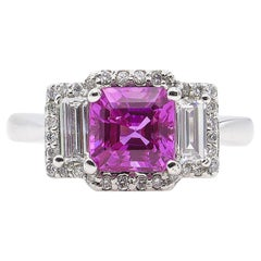 AGL 3.03 Carat No Heat Pink Sapphire Diamond 3-Stone White Gold Ring