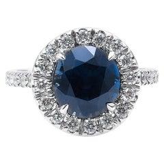 AGL 3.82 Carat Natural Unheated Rich Blue Round Sapphire Diamond Ring