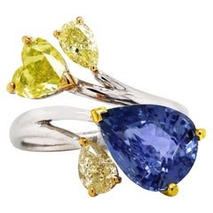 AGL 5.05 Carat Burma Blue Sapphire Fancy Yellow Diamond White Gold Cocktail Ring