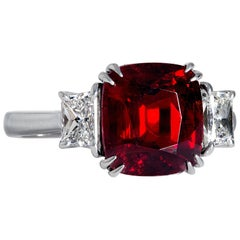 AGL 5.50ct Natural Burma No-Heat Vivid Red Spinel and Diamond Platinum 3-Stone V