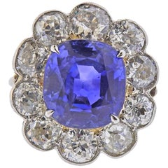 AGL 9.07 Carat No Heat Ceylon Sapphire Diamond Antique Gold Ring
