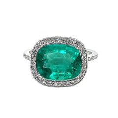 AGL and GUILD Certified 3.75 Carat Natural Emerald and Diamond Ring