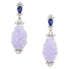 AGL Cert Burmese Lavender Jadeite, Tanzanite, and Diamond Earrings in Platinum
