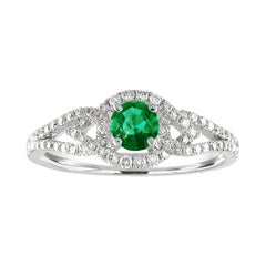 AGL Certified 0.28 Carat Emerald Diamond Gold Ring