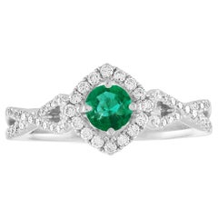 AGL Certified 0.29 Carat Emerald Diamond Gold Ring