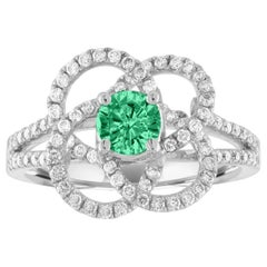 AGL Certified 0.35 Carat Emerald Diamond Gold Flower Ring