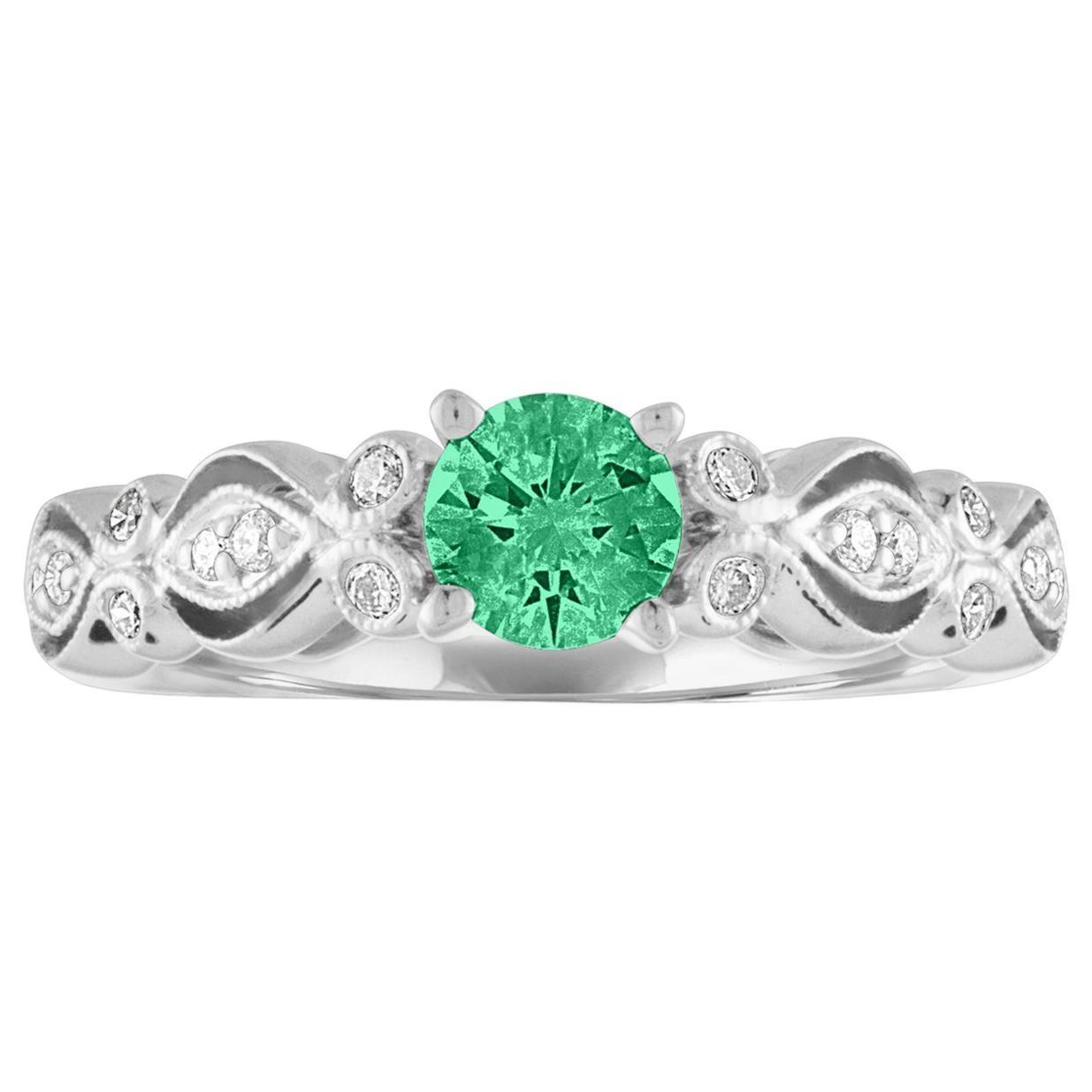 AGL Certified 0.35 Carat Emerald Diamond Gold Milgrain Ring