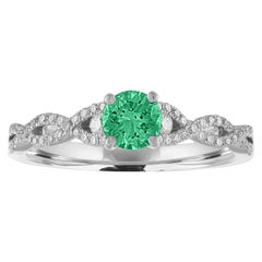 AGL Certified 0.36 Carat Emerald Diamond Gold Infinity Ring