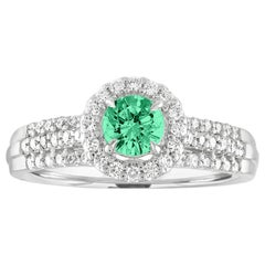 AGL Certified 0.38 Carat Emerald Diamond Gold Halo Ring