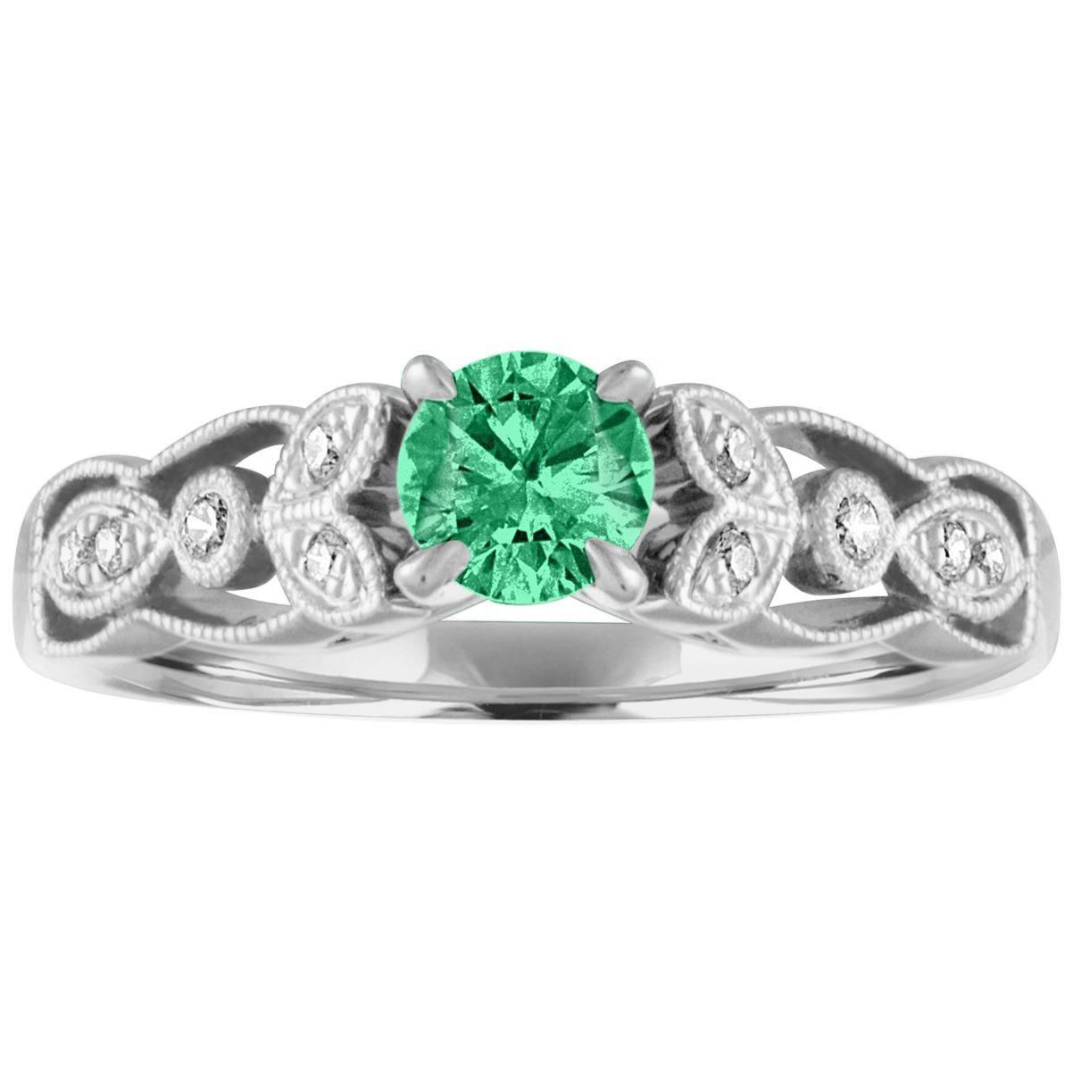 AGL Certified 0.38 Carat Emerald Diamond Gold Milgrain Ring
