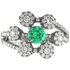 AGL Certified 0.40 Carat Emerald Diamond Gold Flower Ring