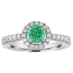 AGL Certified 0.40 Carat Emerald Diamond Gold Halo Ring