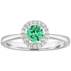 AGL Certified 0.41 Carat Emerald Diamond Gold Halo Ring