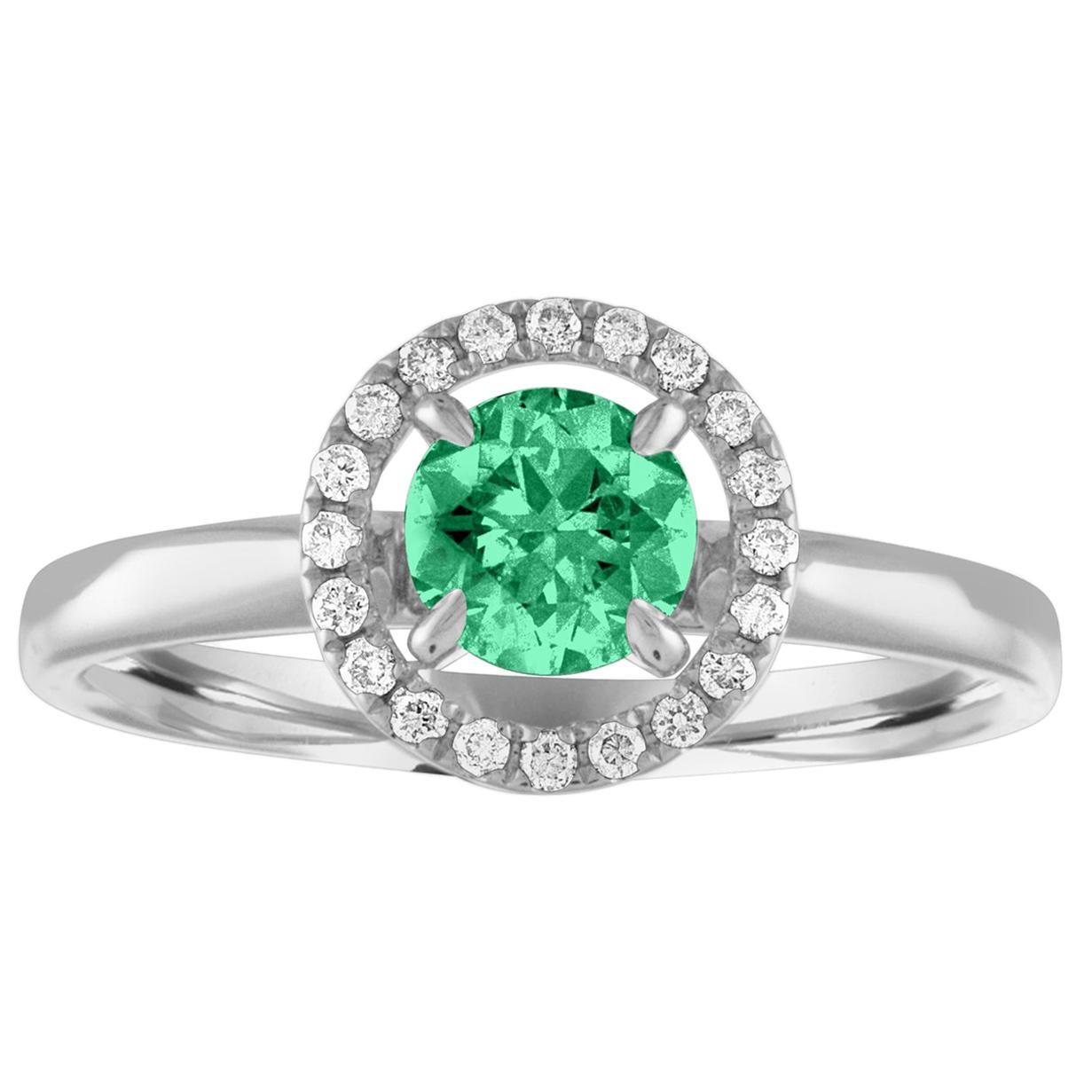 AGL Certified 0.42 Carat Emerald Diamond Gold Halo Ring
