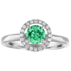 AGL Certified 0.42 Carat Emerald Diamond Gold Halo Ring