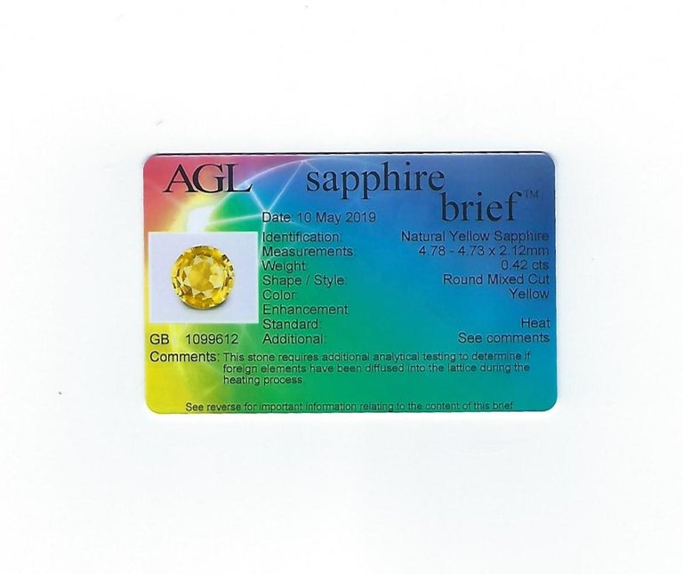 AGL Certified 0.42 Carat Yellow Sapphire Diamond Gold Ring For Sale 4