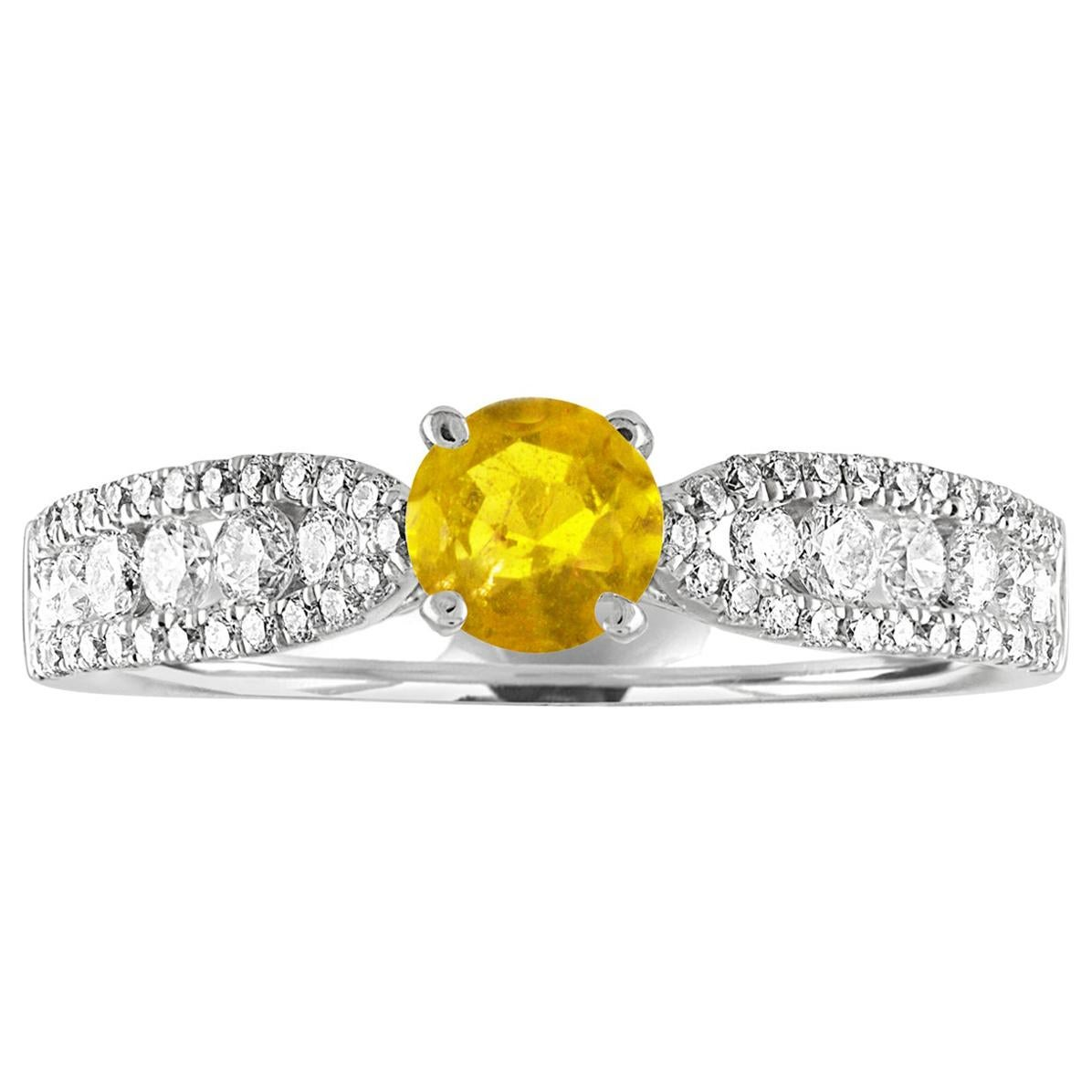 AGL Certified 0.42 Carat Yellow Sapphire Diamond Gold Ring