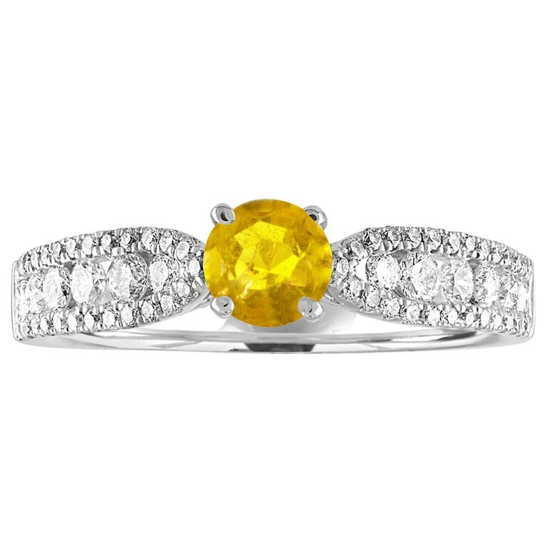 AGL Certified 0.42 Carat Yellow Sapphire Diamond Gold Ring For Sale